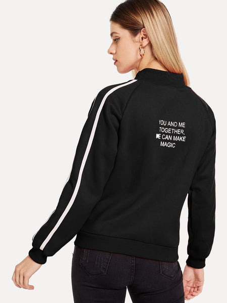 Letter Print Back Tape Panel Sweatshirt