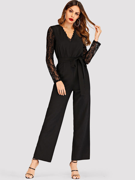 Contrast Lace Self Tie Jumpsuit