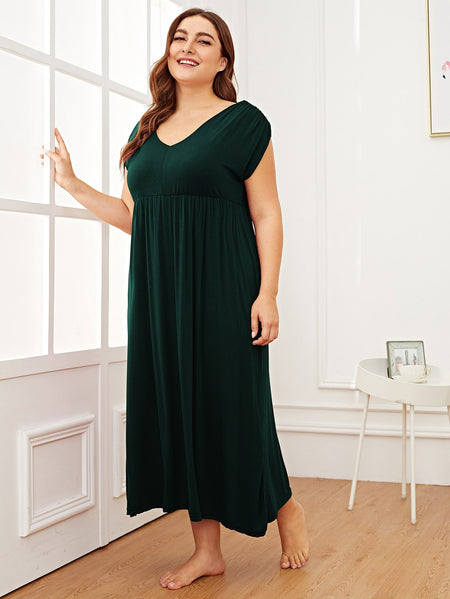 Plus Solid High Waist Night Dress