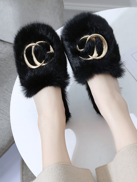 Metal Letter Decor Fluffy Slippers