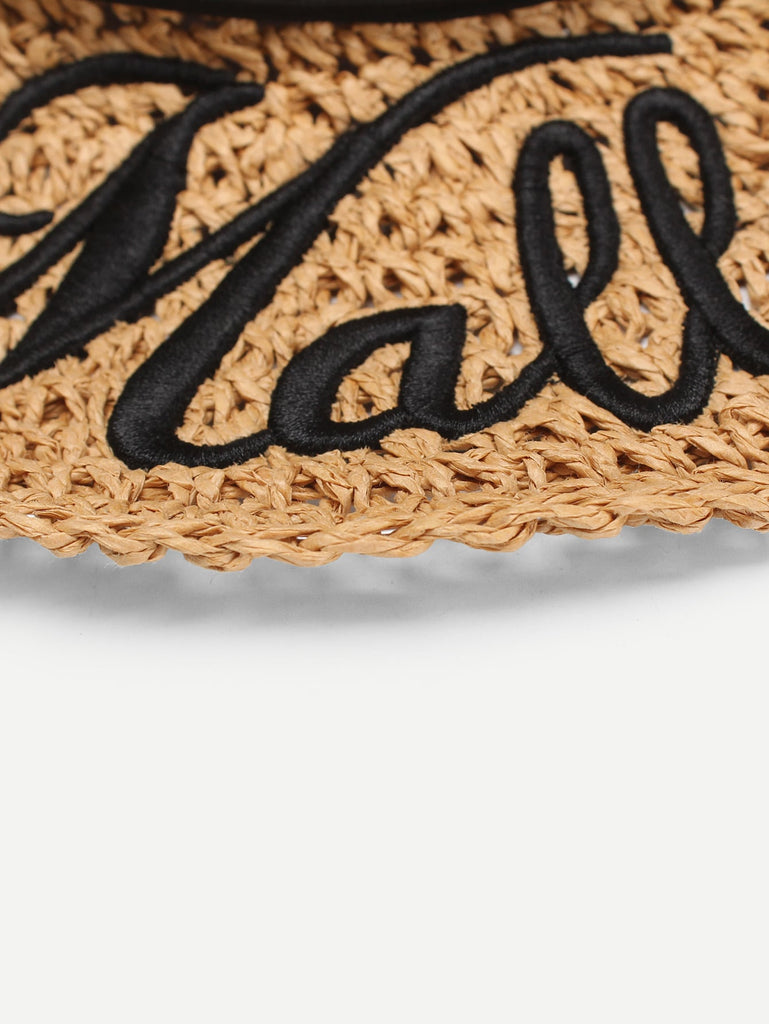 Letter Detail  Bow Knot Straw Hat