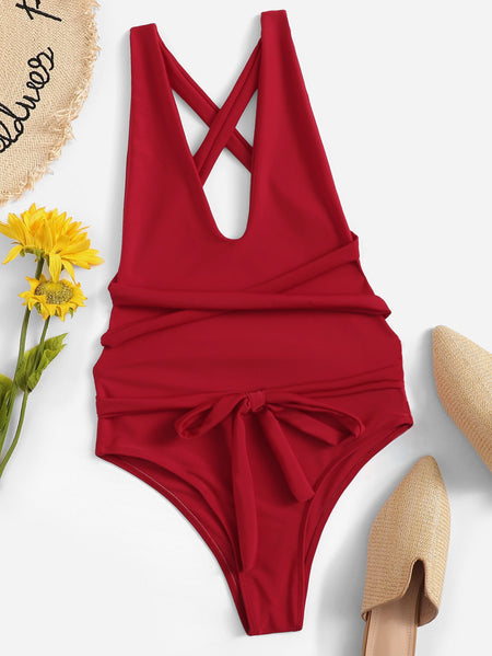 V-Plunge Criss Cross Backless Tie Front One Piece Swimwear