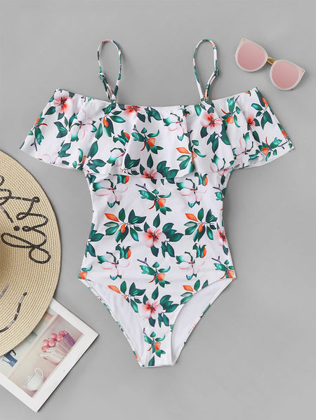 Random Flower & Leaf Print Flounce One Piece Swimwear