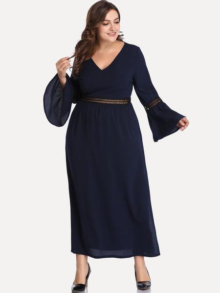 Plus Flounce Sleeve V-neck Dress