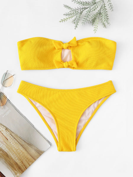 Tie Front Cut-out Ribbed Bikini Set