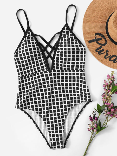 Grid Criss Cross One Piece Swimsuit