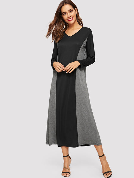 Color Block V Neck Longline Dress