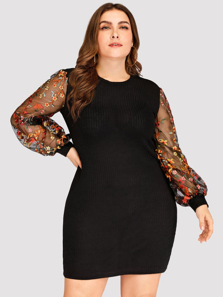 Plus Contrast Mesh Floral Embroidery Dress