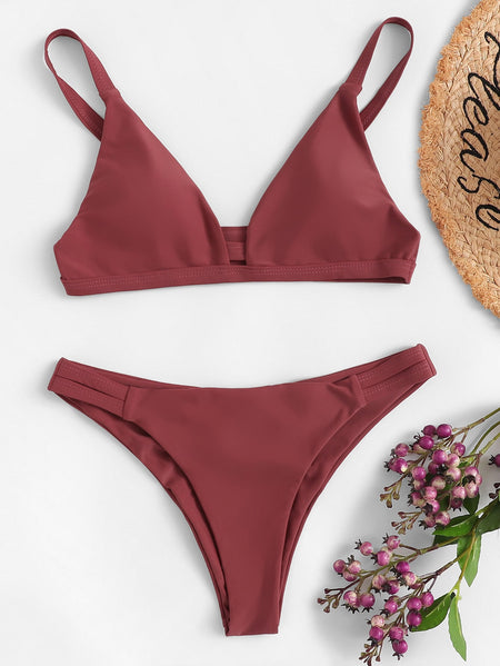 Cut-out V-plunge Top With Ruched Bikini Set