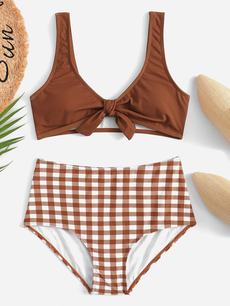 Tie Front Top With Gingham High Waist Bikini