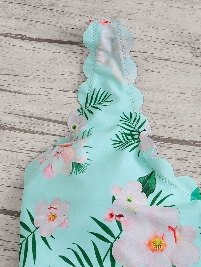 Random Floral Scalloped Trim One Piece Swimwear