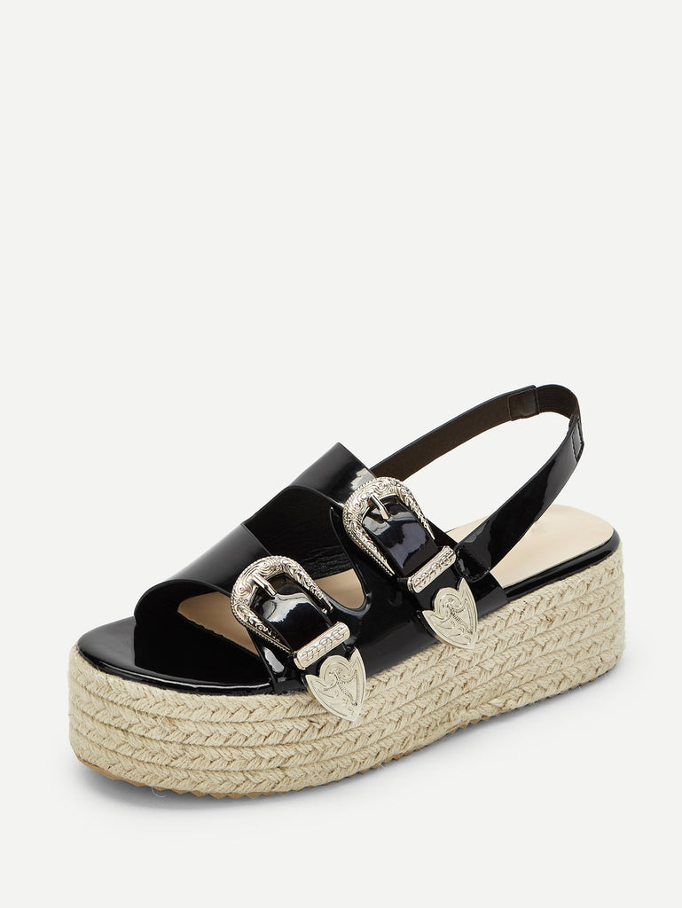 Double Buckle Slingback Espadrille Sandals