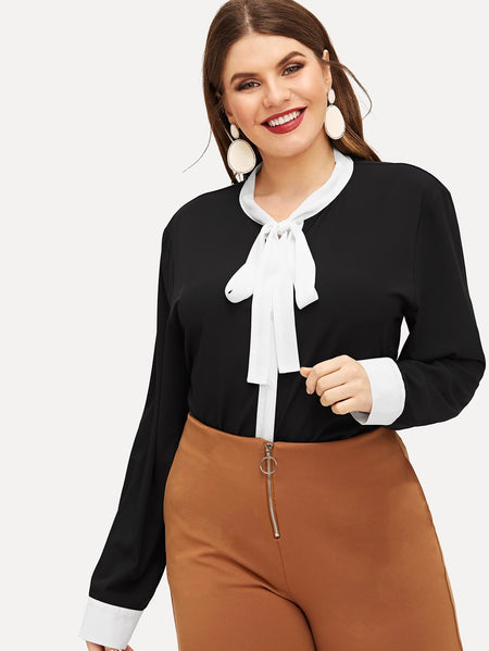 Plus Contrast Cuff Tie-neck Blouse