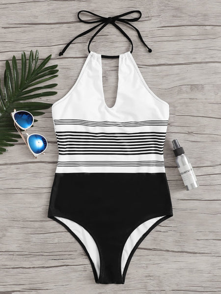 Striped Cut-out Halter One Piece Swim