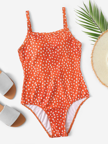 Dot Print Low Back One Piece Swimsuit
