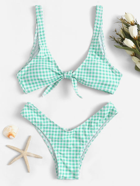 Gingham Tie Front Top With High Leg Bikini