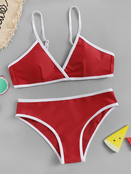 Contrast Piping V-plunge Bikini Set
