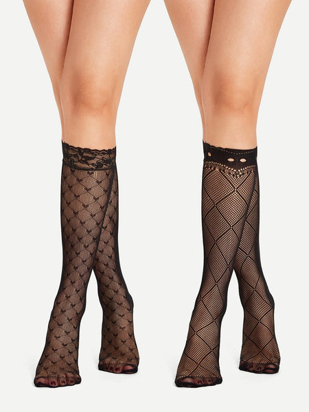 Heart & Grid Pattern Fishnet Calf Length Socks 2pairs