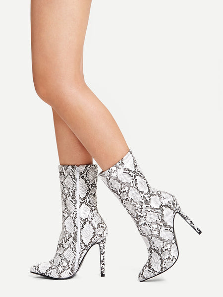 Snakeskin Pattern Side Zipper Stiletto Boots