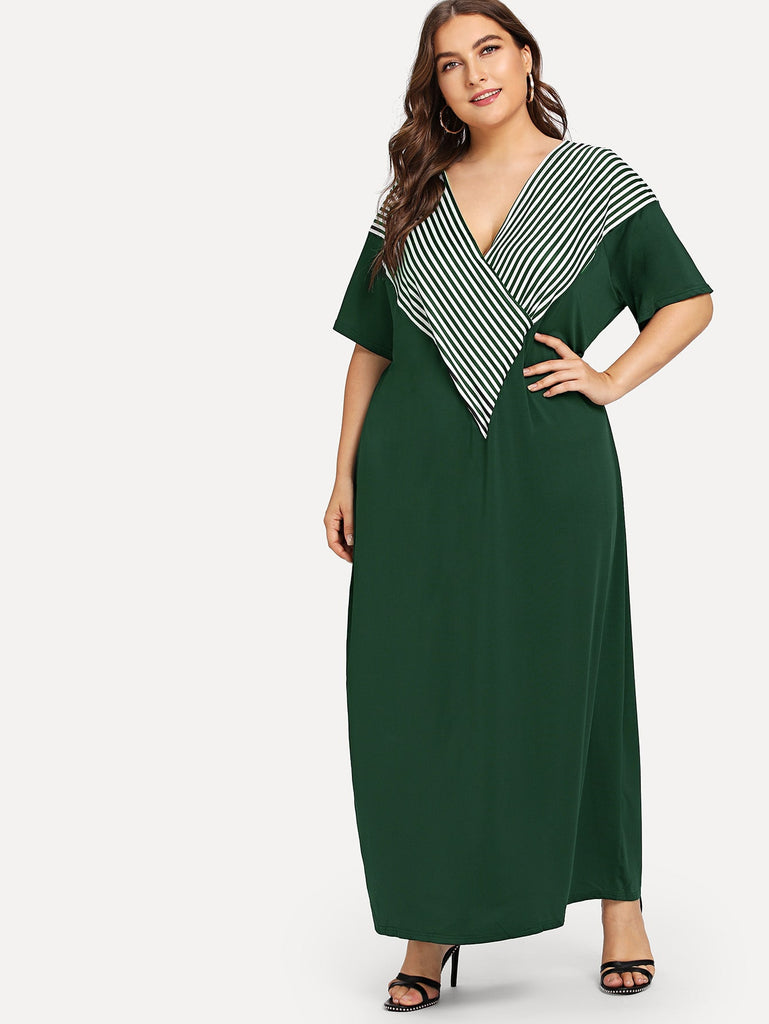 Plus V-neck Striped Panel Dress
