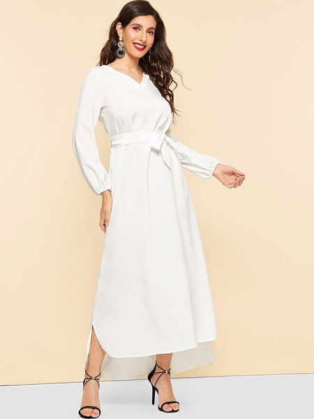 Waist Tie Bishop Sleeve Curved Hem Dress