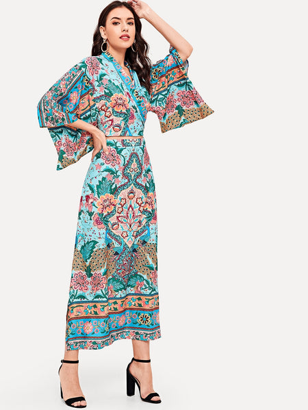 Floral Print Kimono Sleeve Top & Split-side Skirt