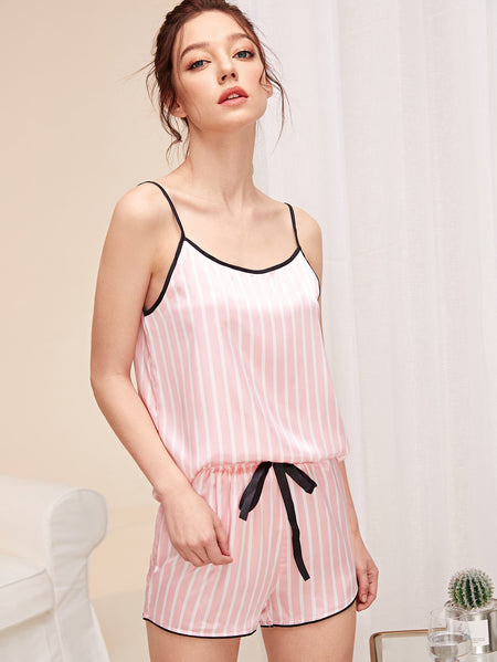 Striped Satin Cami Top & Shorts PJ Set