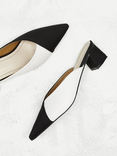 Two Tone Point Toe Flat Mules