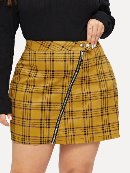 Plus Plaid Zip Front Denim Skirt
