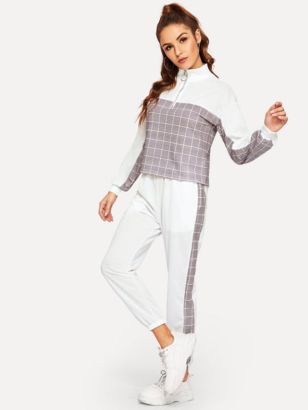 Zip Contrast Plaid Top With Pants