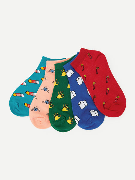 Cartoon Ankle Socks 5pairs