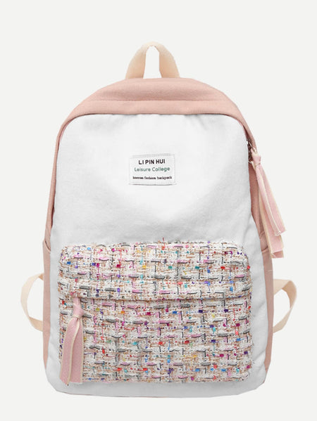 Tweed Pocket Front Canvas Backpack