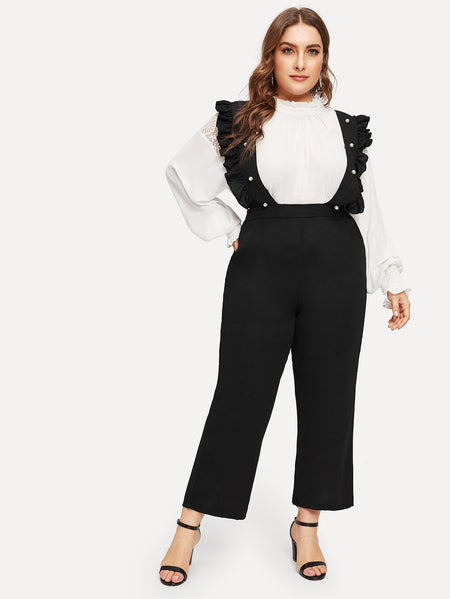 Plus Beaded Ruffle Contrast Lace Jumpsuit