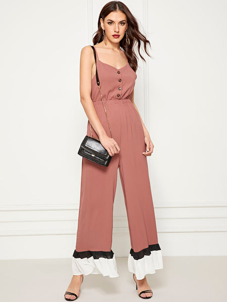 Ruffle Hem Wide Leg Button Decoration Jumpsuit