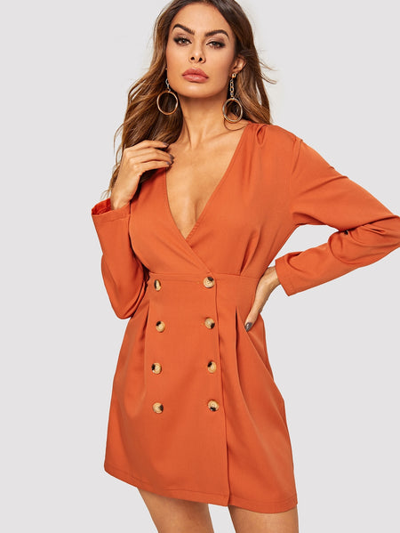 Solid Double Breasted Shirt Dress