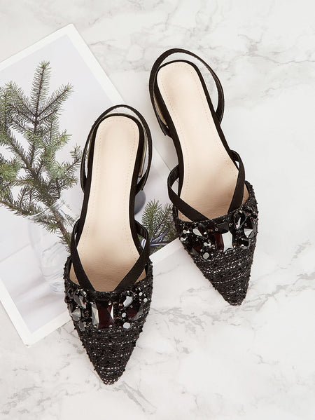 Tweed Jewelled Decorated Slingback Flats