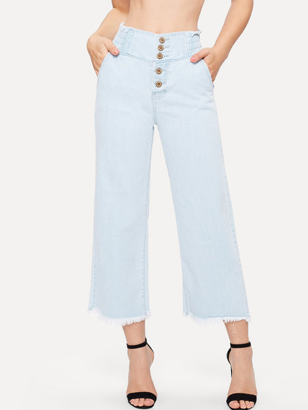 Raw Hem Button Fly Wide Leg Palazzo Jeans
