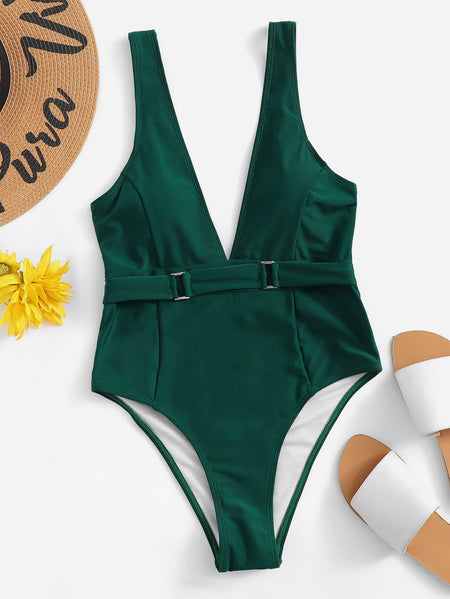 Seam Low Back Plunge One Piece Swimsuit