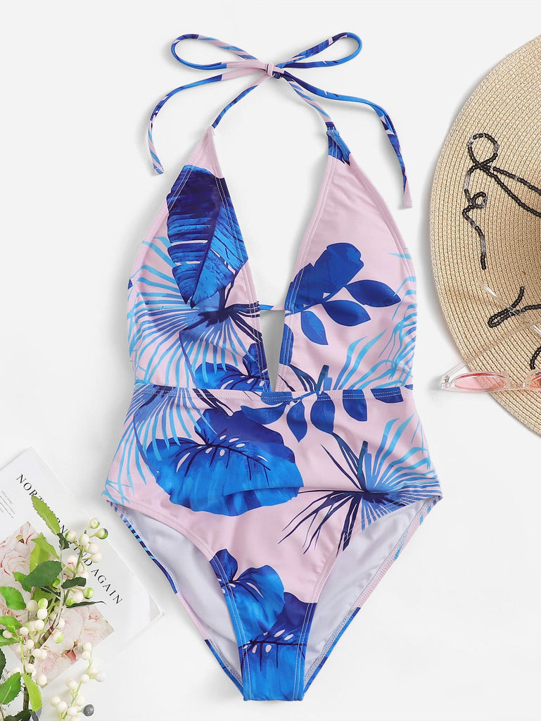 Random Leaf Print Backless Halter One Piece Swim