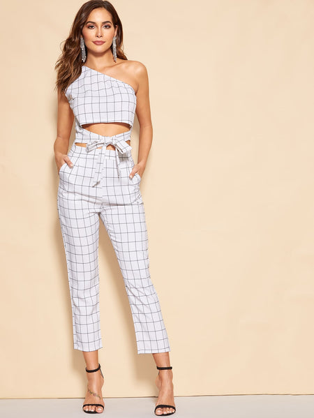 One Shoulder Plaid Knot Hem Top With Pants