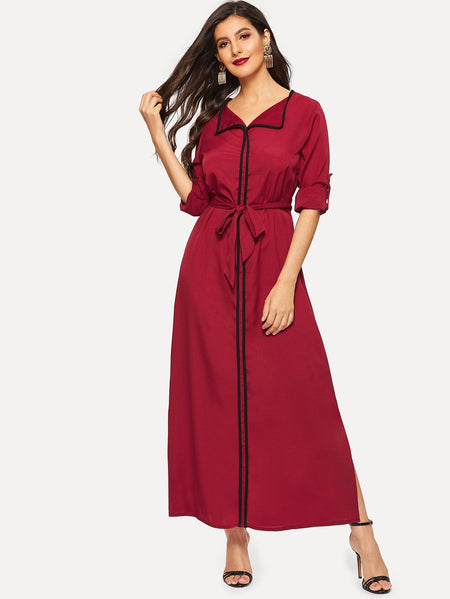 Waist Tie Split-side Roll Up Sleeve Dress