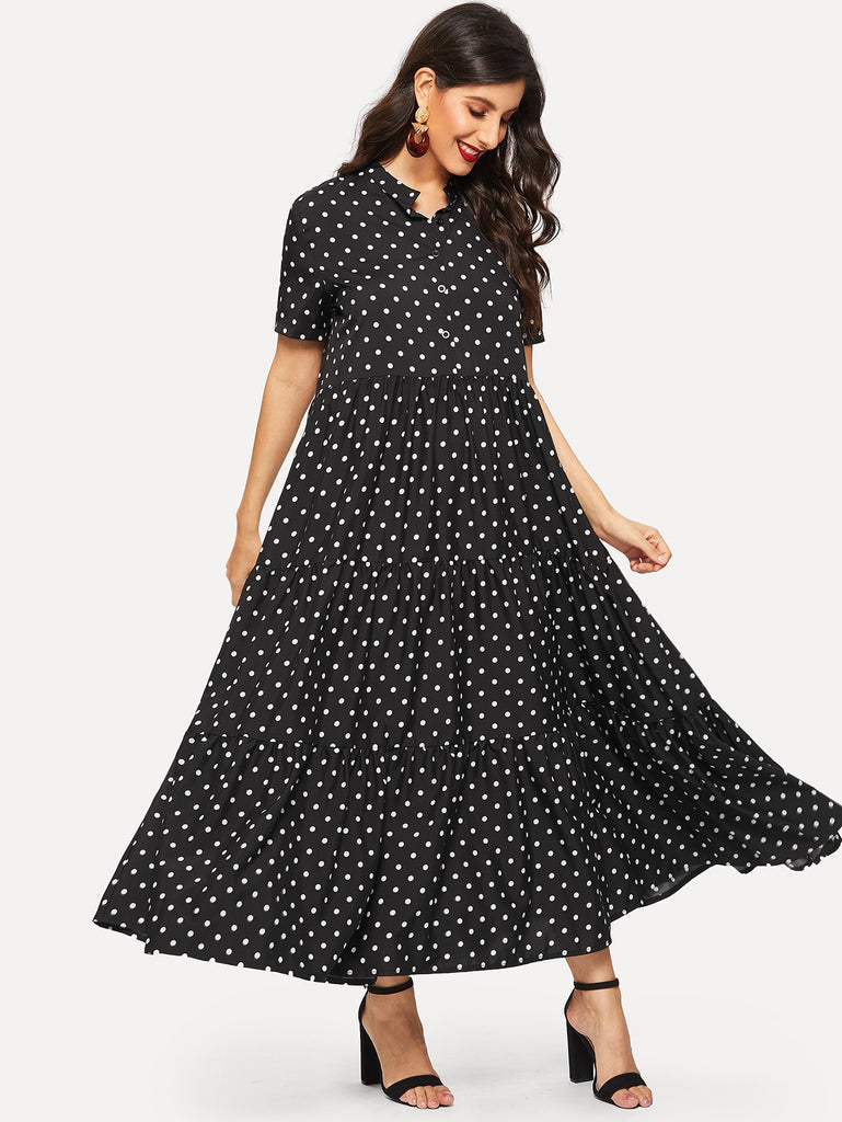 Polka Dot Button Half Placket Dress