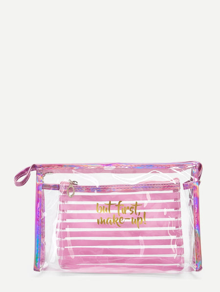 Letter & Stripe Pattern Makeup Bag Set 2pack