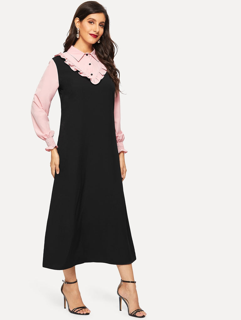 Color Block Button Half Placket Dress