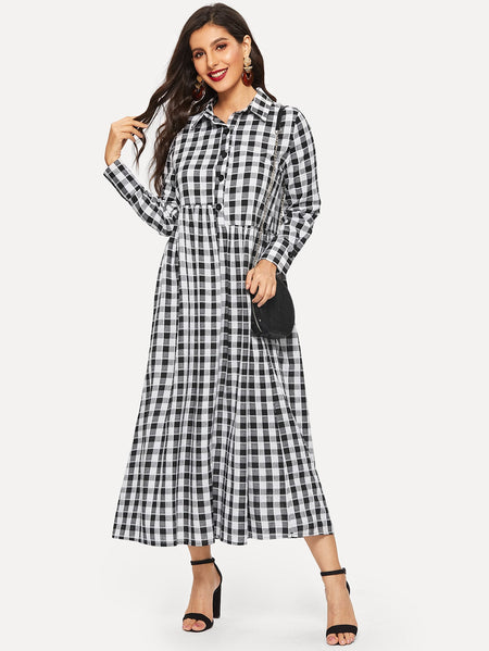 Gingham Button Half Placket Dress