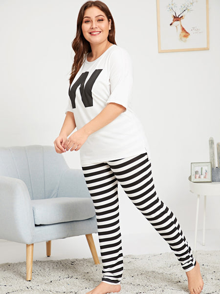 Plus Letter Print Top & Striped Pants PJ Set