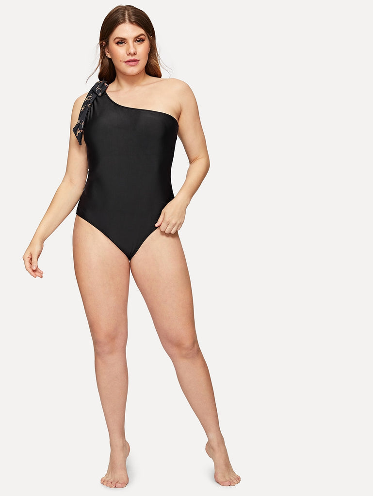 Plus Bow Decorated One Shoulder One Piece Swimwear