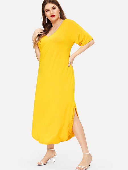 Plus Neon Yellow Slit Hem Tee Dress