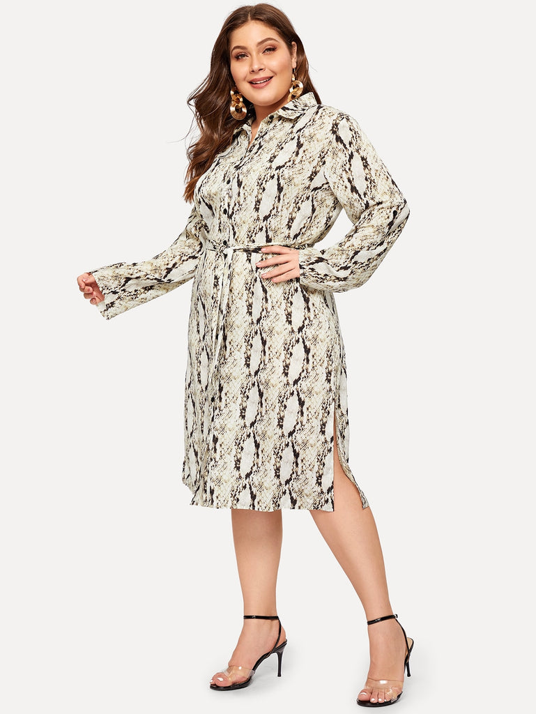 e68cf1bbe Plus Snake Print Button Front Shirt Dress | Pusshe