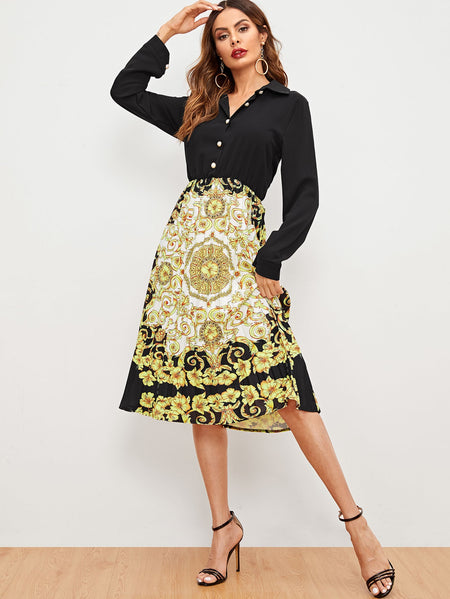 Baroque Print Button Through Dress
